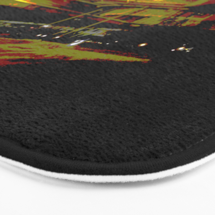 Don't stop. It's a sign. Stop street in the dark Bath Mat