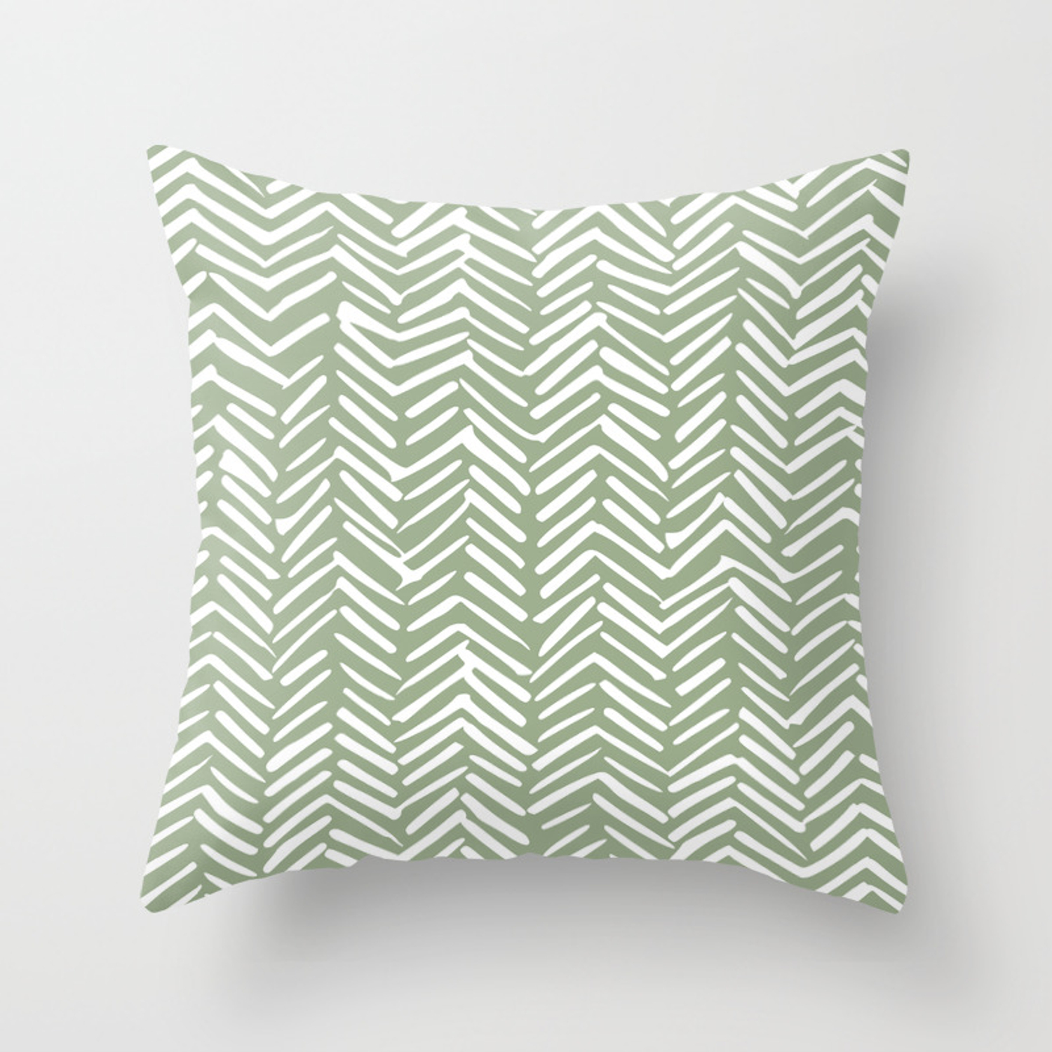 Boho Herringbone Pattern, Sage Green and White Throw Pillow by