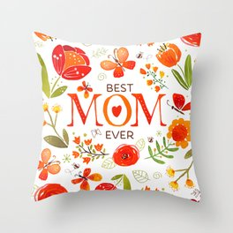 Mother's Day Watercolor Flowers and Butterflies Throw Pillow