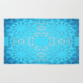 Turquoise Blue Color Burst Floral Rug