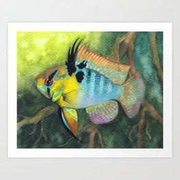Blue Ram in Nature Art Print