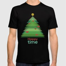 Happy time Black MEDIUM Mens Fitted Tee
