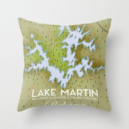 Lake Martin Alabama Travel poster. Throw Pillow