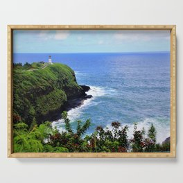 Kilauea Point Lighthouse Kauai by Reay of Light Serving Tray