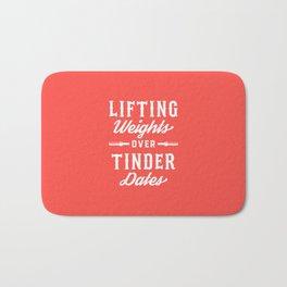 Lifting Weights Over Tinder Dates Bath Mat