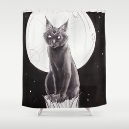 Black Cat and the Moon Shower Curtain