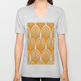 Orange,white,art deco, vintage,fan pattern, art nouveau, vintage, Unisex V-Neck