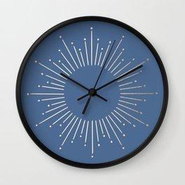 Simply Sunburst in Aegean Blue Wall Clock