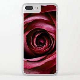 Dark Red Rose Clear iPhone Case