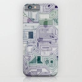 Computer digital green and purple iPhone Case