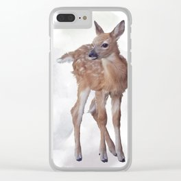 whitetail deer fawn watercolor painting Clear iPhone Case