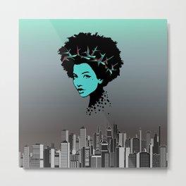 Girl portrait and skyline Metal Print