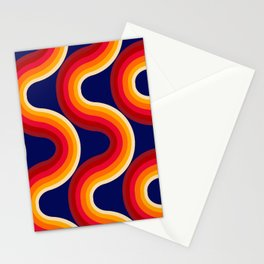 Rainbow Sunset - 70s retro art, seventies style rainbow Stationery Cards