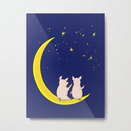 happy pair of pigs in love on the moon Metal Print