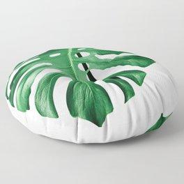 Monstera split leaf isolated green on white Floor Pillow