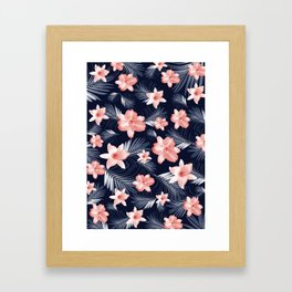 Tropical Flowers Palm Leaves Finesse #6 #tropical #decor #art #society6 Framed Art Print