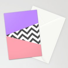 Color Blocked Chevron 7 Stationery Cards