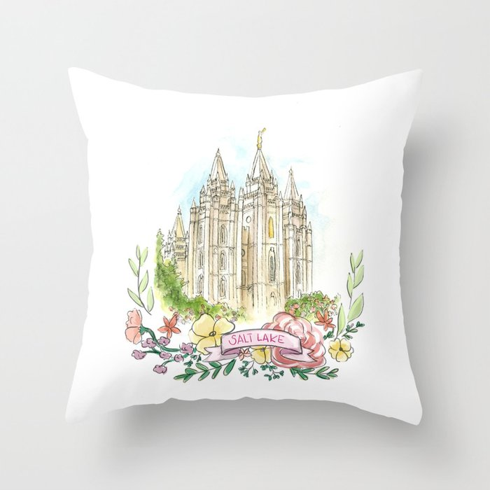Salt Lake City LDS watercolor Temple with flower wreath Throw Pillow