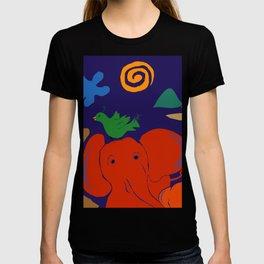 Red Elephants and Emerald Green Bird T-shirt