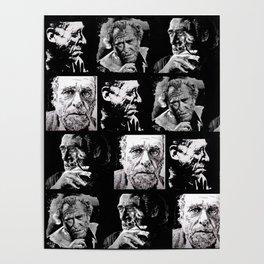 BUKOWSKI - 4 faces Poster