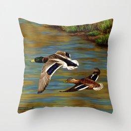 Mallard Ducks in Flight Throw Pillow