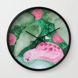 Sleeping pink jungle cat watercolor illustration Wall Clock