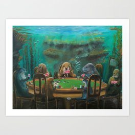 Pinnipeds Playing Poker Art Print