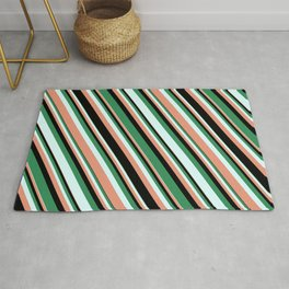 Sea Green, Light Cyan, Dark Salmon, and Black Colored Striped/Lined Pattern Rug