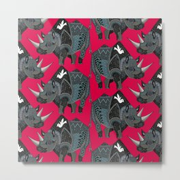 rhinoceros red Metal Print