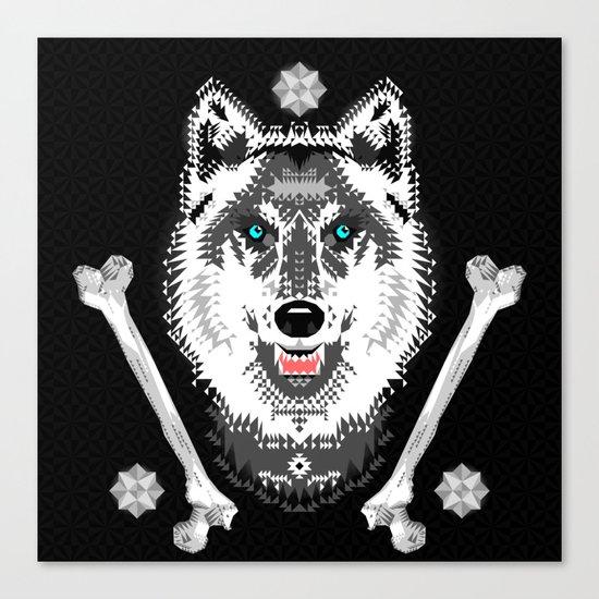 Silver Wolf Geometric Canvas Print