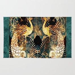 Art Deco Malachite and Gold Peacocks Rug