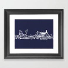 Sailors in a Row Boat & Fish Framed Art Print