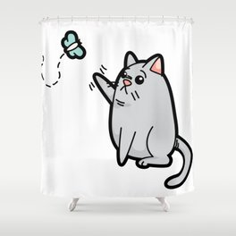 Fat Cat Trying to Get Butterfly Shower Curtain