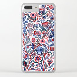 Botanical in red and blue Clear iPhone Case