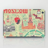 moscow iPad Cases featuring Moscow Map by Ashley Ross