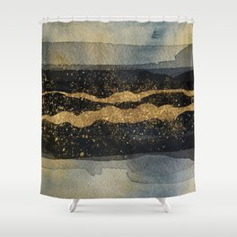 GOLD VEIN Abstract Watercolor Art Nr. 2 Shower Curtain