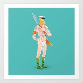 Rocker Aquaman blue Art Print