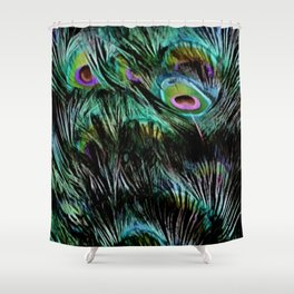 Soft and Fluffy Colorful Peacock Feathers Shower Curtain