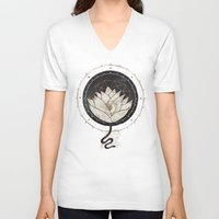 lotus flower V-neck T-shirts featuring Lotus by Hector Mansilla