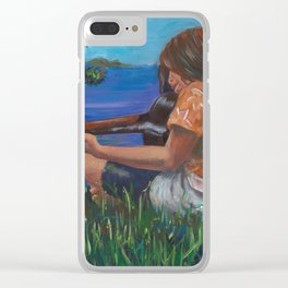 Playing ukulele Clear iPhone Case