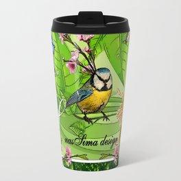 Birdy & Fishy spring green Travel Mug