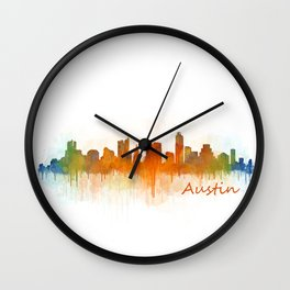 Austin Texas, City Skyline, watercolor  Cityscape Hq v3 Wall Clock