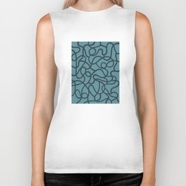 Organic River Lines - Light Blue Biker Tank