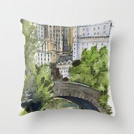 Central Park: Gapstow Bridge Throw Pillow