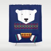 polar bear Shower Curtains featuring Polar Bear by Marco Recuero