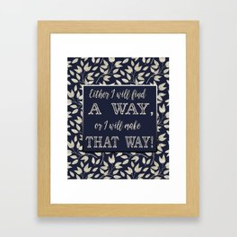 Abstract Silver leaves Navy Blue Inspiring Words Typography Framed Art Print