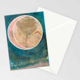 Pink Eco Print Moon Stationery Cards