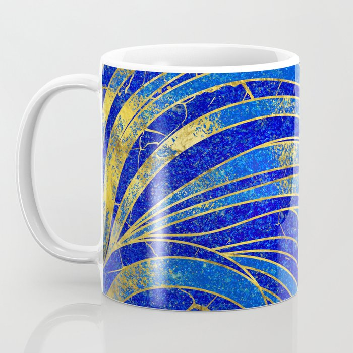 Lapis Lazuli and gold vaves pattern Coffee Mug