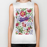 botanical Biker Tanks featuring Botanical Art by Burcu Korkmazyurek