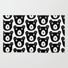 Cute black and white bear illustration Rug